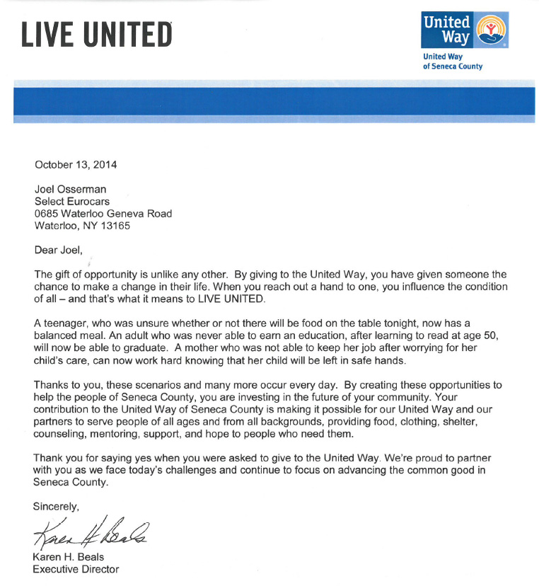Select EuroCars, Inc Supports The United Way